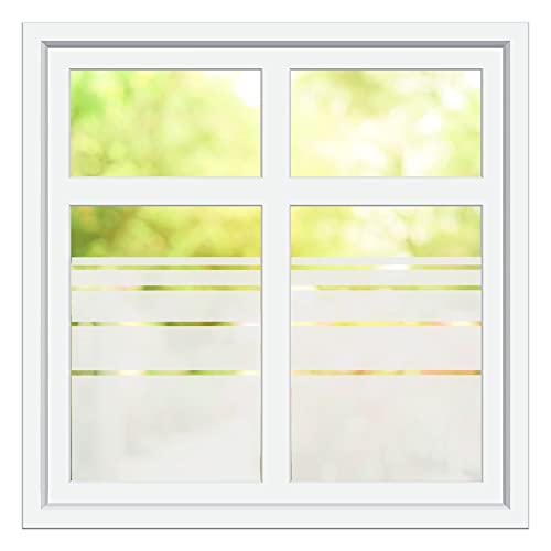INDIGOS UG Sichtschutzfolie - Fensterfolie - Glasdekorfolie - Dynamische Streifen satiniert oder weiß blickdicht - individuelle Größen