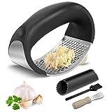 Prensa de ajos, ZSTKEKE Trituradora de ajo de acero inoxidable con pelador de ajo y cepillo y raspador de limpieza para Restaurante, Cocina Casera