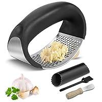 schiaccia aglio, zstkeke spremiaglio in acciaio inossidabile con pelapatate per aglio e spazzola per la pulizia e raschietto, aglio pressa manuale per cucina