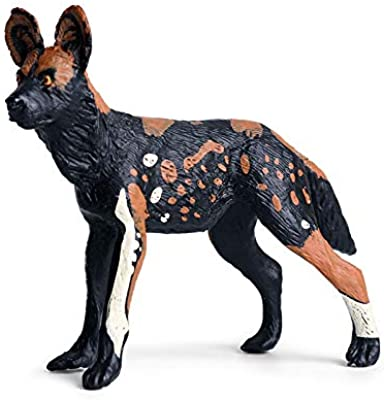 Rich Boxer African Wild Dog Figurine Realistic Plastic Lycaon Pictus Dog Figurine for Collection Science Educational Prop
