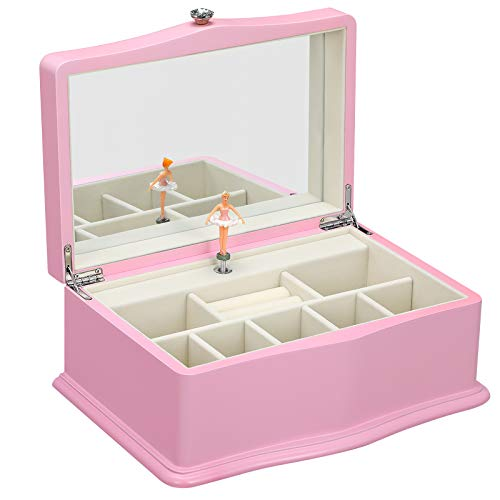 SONGMICS Ballerina Music Box, Girls Jewelry Box with Large Mirror, Musical Box Gift, Pink UJOW01PK