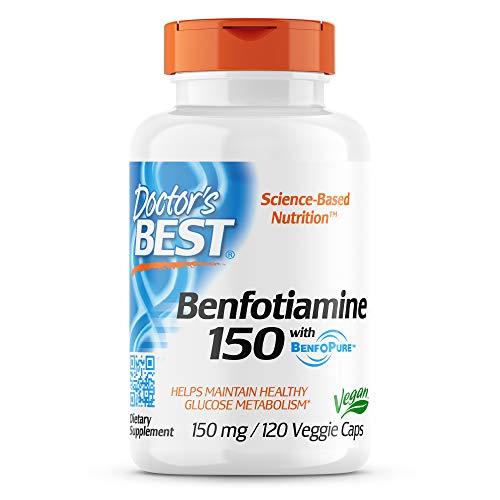 Doctor's Best BenFotiamine with BenfoPure, Non-GMO, Gluten Free, Vegan, Helps Maintain Blood Sugar Levels, 150 mg, 120 Veggie Caps (DRB-00129)