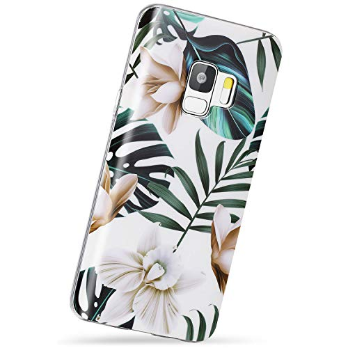 """VIVIBIN Samsung Galaxy S9 Case,Cute Leaves Flower for Women Girls Men,Silicone Rubber TPU Case with Clear Bumper Scratch Resistant Slim Fit Protective Phone Case for Galaxy S9 [5.8""""]"""