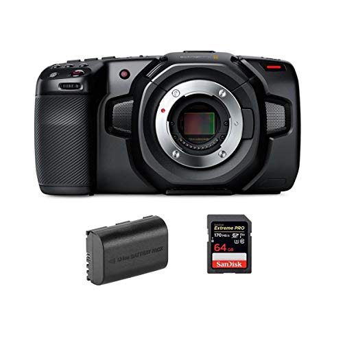 Blackmagic Design Pocket Cinema Camera 4K - Bundle with 64GB SDXC Memory Card, Green Extreme LP-E6N Rechargeable Lithium-Ion Battery Pack