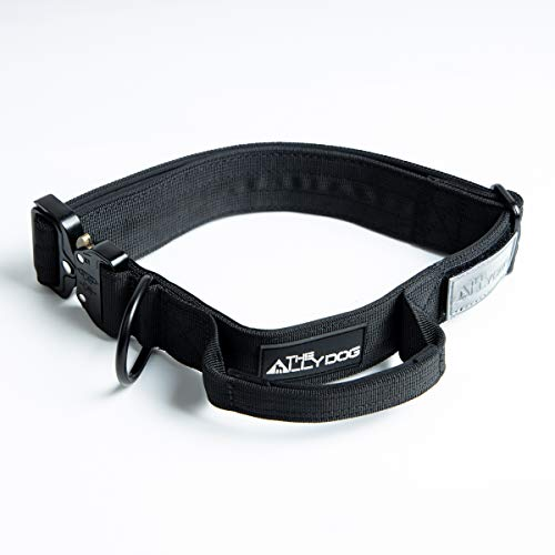 The ALLY DOG Dog Collar Created for UK Military Dogs I Instant Control & Release I Chew Proof I Chrome D-Ring I Grip Release I I Premium I All Breeds I BLACK S-M 31-45cm