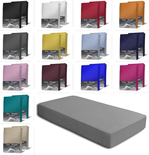 one-home 2er Set Jersey Spannbettlaken Spannbetttuch weiche Baumwolle mit Rundumgummizug, Farbe: Grau, Maße: 2er Pack 90-100 x 200 cm