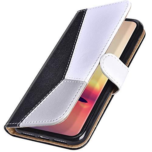 MoreChioce kompatibel mit Samsung Galaxy J5 2017 Hülle,Galaxy J530 Hülle Brieftasche Bunt Schwarz Tricolor Klapptasche Schutzhülle Ledertasche Silikon Backcover Protective Wallet Case Magnetische