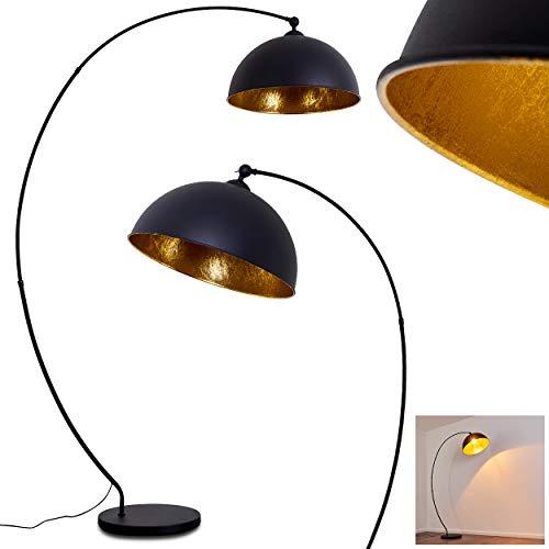 Stehlampe Miranda, Vintage Stehleuchte aus Metall in Schwarz/Gold, 1 x E27-Fassung, max. 60 Watt, Leuchte im Retro-Design m. Fußschalter am Kabel in Blattgold-Optik, LED geeignet
