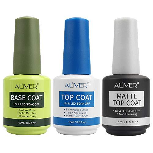 Base Coat Top Coat UV LED Gel Nagellack Gellack Unterlack & Überlack Set Nägel Maniküre Kit 3×15ml