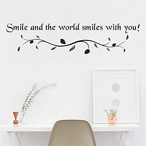 Etiqueta engomada de la pared 3D DIY Mural Decoración del hogar creativo New Smile Text Pattern Art Decalación extraíble Papel pintado Decoración del hogar 20x14cm