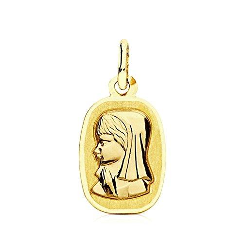 Médaille pendentif 17mm 9k rectangulaire en or Virgen Niña. [AB3226GR] - personnalisable - ENREGISTREMENT inclus dans le prix