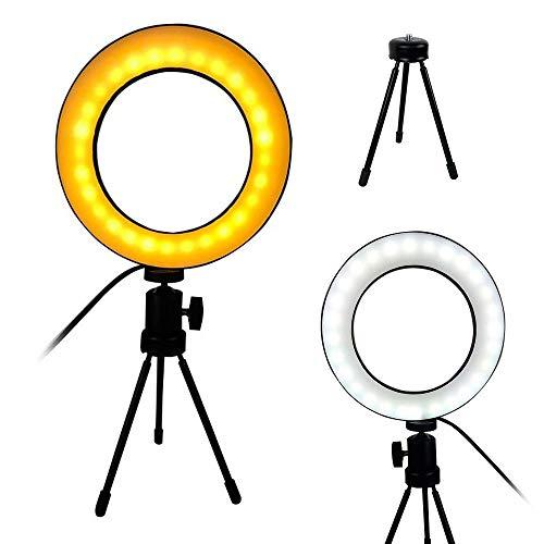 Ring Light Iluminador LED Tripe Usb Luz Quente/Fria Mesa Portatil Controle