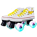 New Adult Double Row Roller Skates Adult Men's and Women's Outdoor Roller Skates Couple Skates 5.5 Whiteflash