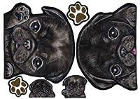 犬ステッカー パグ8 ブラック シール