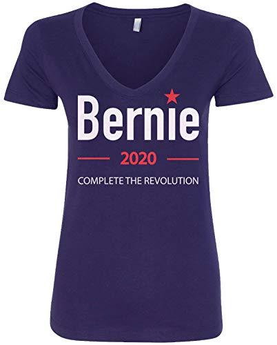 Threadrock Bernie Sanders 2020 Complete The Revolution Women's V-Neck T-Shirt   Small, Navy