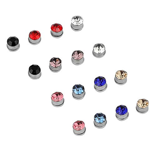 SeaISee 3mm Crystal Magnetic Stud Earring Magnet Nose Ear Lip Stud for Unisex Non Piercing Tragus Nose Stud(8 Pairs Multi)