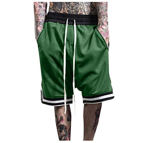 Xmiral Shorts Herren Reißverschluss Taschen Kordelzug Streifen Sports Kurze Hose Training Shorts Fitness Beachshorts Mode Shorts(Grün,L)