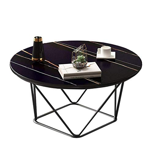 PAKUES-QO Coffee table, Nordic light ins style home living room iron tea table, small apartment imitation marble black small round table (Color : A, Size : 50X50X45CM)