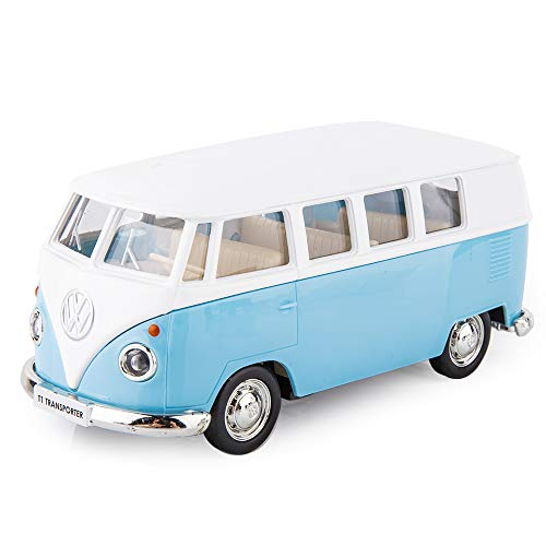 idocce VW Bus 1/36 Scale Bus with PullBack Function Casting Car Model Openable Doors, Zinc Alloy Toy Car for Kids Pull Back Vehicles Toy Car for Toddlers Kids Blue
