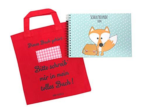 Cherry Picking Freundebuch Schule Schulfreunde Einschulung Schulkind Grundschule Poesiealbum Schulfreundebuch mit Tasche ROT