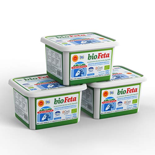 Vassilitsa BIO Feta BIO Schafkäse - 3x 1kg - BIO Fetakäse BIO griechischer Feta Schafskäse in Salzlake Sheep Cheese 43% Fett i.Tr. aus Griechenland 70% Schaf 30% Ziege Plastikbehälter Biologisch