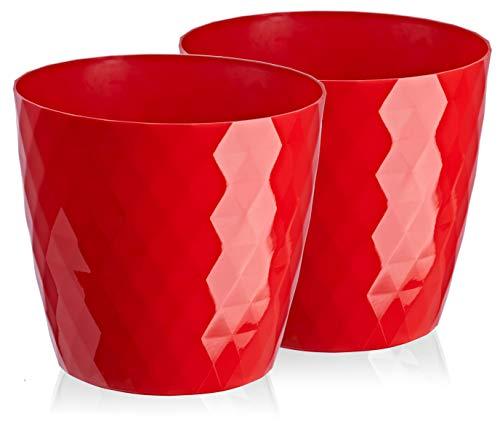 Blumentopf, 2er-Pack, glänzender, Leichter, dekorativer Pflanzentopf aus Kunststoff, Moderne, Runde Form, für Innenräume,Pflanzkübel (18 cm, Rot )