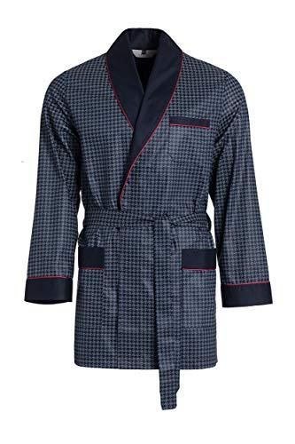 Revise Vestaglia da Uomo - Corta - Accappatoio RE-509 - Elegante - 100% Cotone – Blu Scuro con Dettagli Rossi L