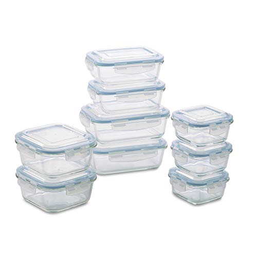 1790 Glass Food Storage Containers with Lids Glass Meal Prep Containers Airtight Glass Lunch Boxes BPAFree amp Approved amp Leak Proof 18 Piece 9PK Aqua