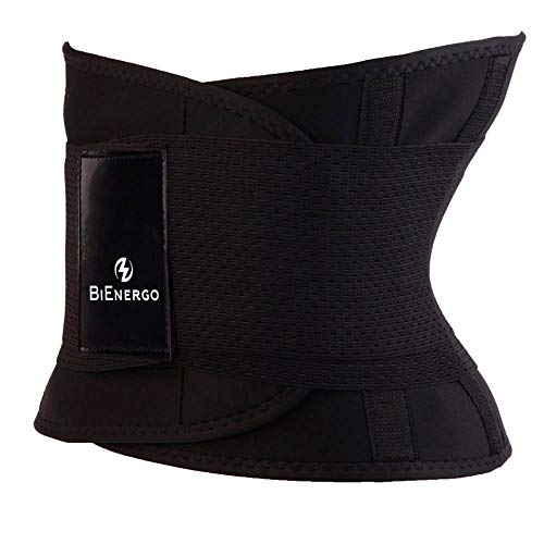 BiEnergo Waist Trainer for Women and Men Slimming Sauna Waist Trimmer Exercise Belt with Adjustable Velcro Straps (Black, X-Large)