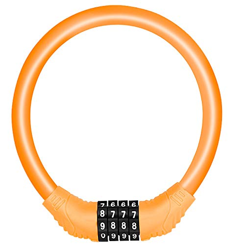 SPROUTER Bike Cable Lock Combo Cable Bicycle Lock, Portable Code Bicycle Lock with 4-Digit Combination Lightweight Bike Cable Lock, Anti-Theft Bike Lock for Kid Bike Moutain Bike,12CM Diameter, Orange