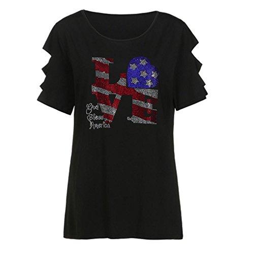 T-Shirt Femme Grande Taille,LuckyGirls Femmes Mode Creux à Manches Courtes Tee Shirts Lettre de Forage à Chaud Impression Tops Blouse - Maxi 5XL (2XL, Noir)