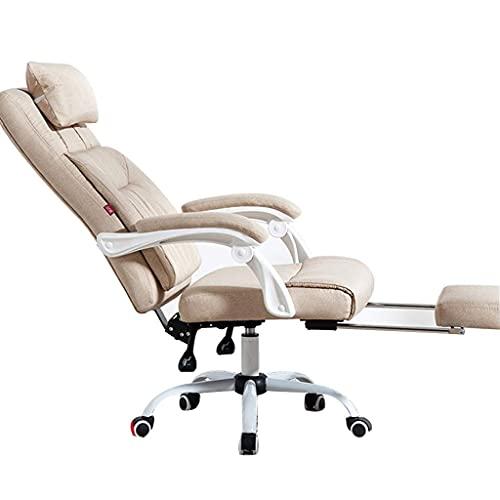 N&O Sillas de la casa de renovación Computer Boss Company Office Back Cómodo sillón reclinable Juego Personal Giratorio Beige 64X46X121Cm