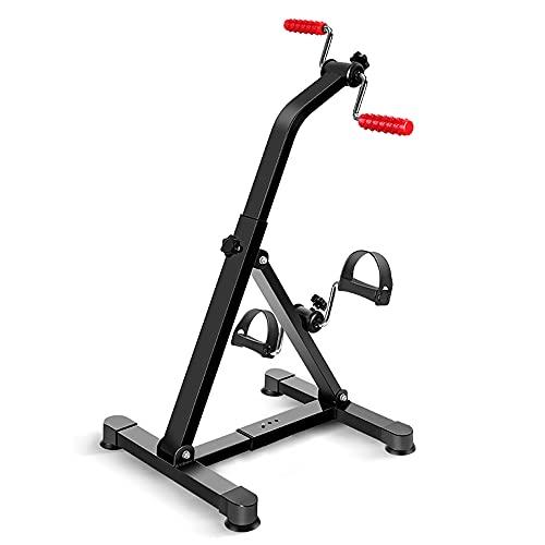 Bicicleta de Rehabilitacion, Entrenador de Pies y Manos ajustable con resistencia variable y rodillo de masaje manual, para gimnasio en casa/Black / 84x51x43cm