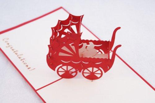 全100種以上☆立体ポップアップ グリーティングカード :立体乳母車 A-001 R 出産祝いカード (赤) ベイビー ギフト 贈物