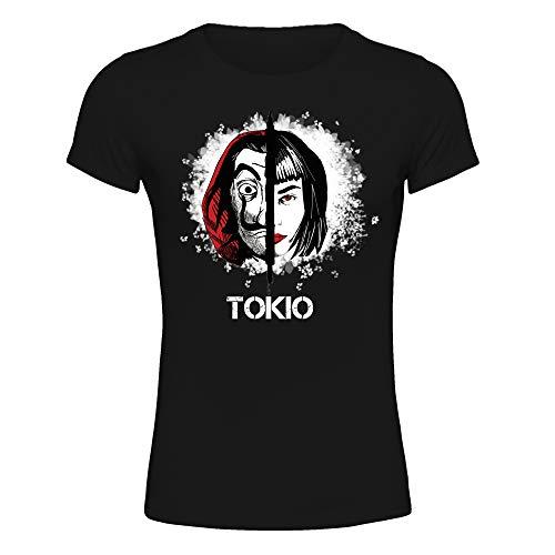 T-Shirt Maglietta Donna La Casa di Carta, Tokyo, La Casa de Papel Terza Stagione (Nero, S IT Donna)