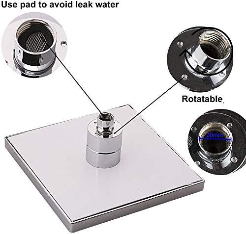 Ducha con sensor de temperatura, 3 cambios de color – 8 Inch Square Rociador superior de ducha con 12 leds para baño