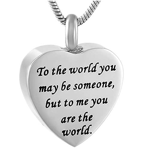 Wxcvz Colgante De Cenizas Conmemorativas Collar De Joyería De Cremación De Acero Inoxidable con Corazón Grabable
