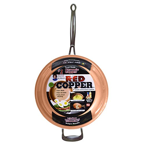 Red Copper 12 inch Pan by BulbHead Ceramic Copper Infused Non-Stick Fry Pan Skillet Scratch Resistant Without PFOA and PTFE Heat Resistant From Stove To Oven Up To 500 Degrees