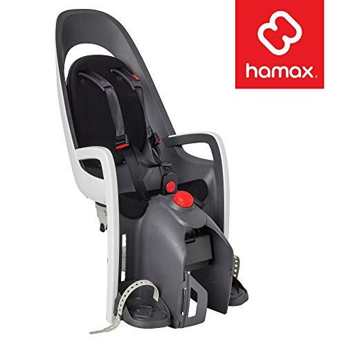 Hamax Caress Rear Child Bike Seat, Ultra-Shock Absorbing Rack Mount, Adjustable to Fit Kids (Baby Through Toddler) 9 mo - 48.5 lb. (Grey/White)