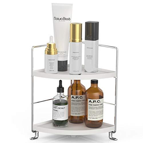 2-Tier Corner Wire Shelving Stackable Organizer for Cosmetics, Bathroom, Kitchen, Countertop, Silver