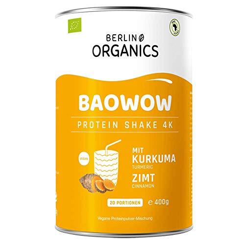 Protein Vegan - Proteinpulver Berlin Organics - BAOWOW Protein Kurkuma & Zimt - 100% Bio Protein Shake aus veganen Proteinen - Mehrkomponentenprotein 400g Pulver