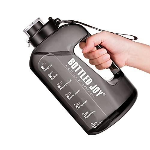 Bouteille D'eau de Sport, 2.5L Bouteille avec Marquage du Temps sans BPA Water Bottle avec Brosse de Nettoyage Gourde Sport avec Poignée pour Bureau Gym
