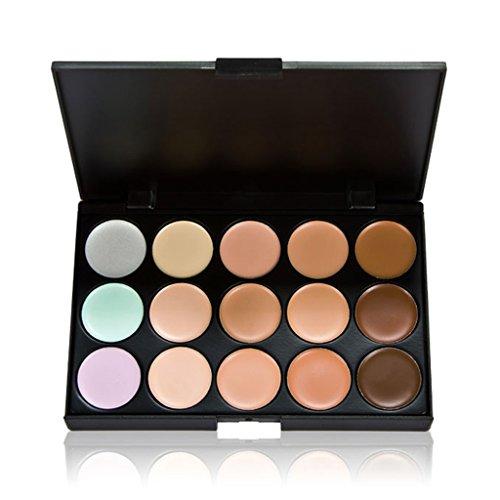 Toygogo Palette De Correcteur De Maquillage Pour Le Visage Crème Contour Du Visage Pro 15 Colors + Pinceau Puff Powder