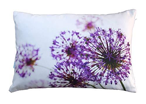 Blumen Kissen, Allium, lila violett, 40x60 cm Hülle, Baumwolle, Natur Motiv, Deko, Sofa, Garten
