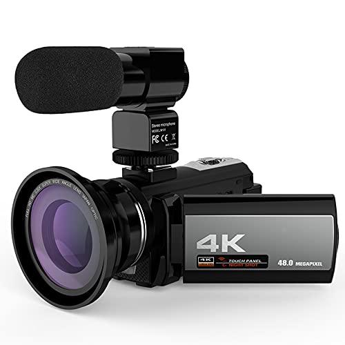 tquuquu Cámara De Video Digital Videocámara,4k 48mp WiFi Cámara De Video Grabadora con Lente Gran Angular 0.39x Micrófono Externo Pantalla Táctil De 3'IR Infrarrojos 16x Zoom Digital Videocámara
