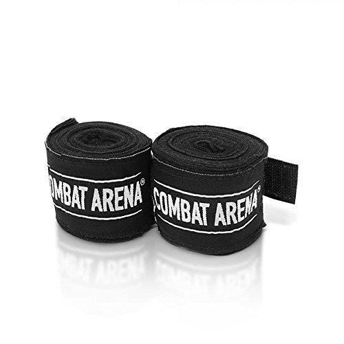 Combat Arena Stripes Bendaggi Fasce protezione mani 4 metri per Boxe Kick Boxing MMA Muay Thai (Nero)