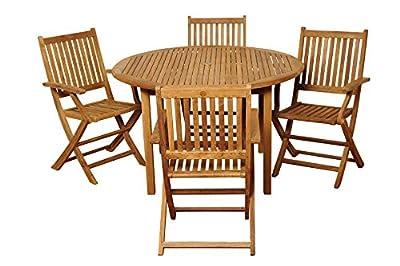 Amazonia Teak Extendable Oval Hamburg Patio Dining Set, 7-Piece, Brown
