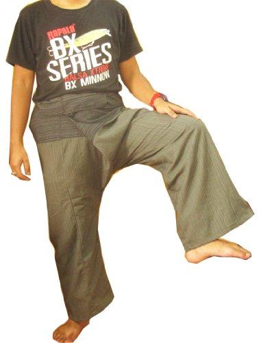 Thai Pants Lay - Pantalones de Yoga para Pescador (Talla Grande, algodón), diseño de Rayas