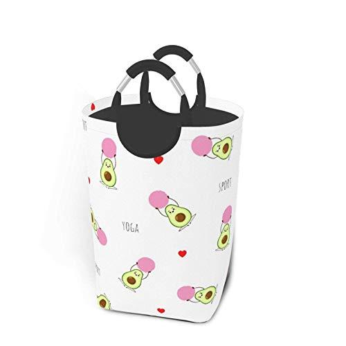 Yoga de aguacate de patrones sin fisuras con rosa Fitball Vector Cesto de lavandería plegable portátil, soporte organizador de cesta de ropa sucia con asa para soporte de libro de juguete Alma