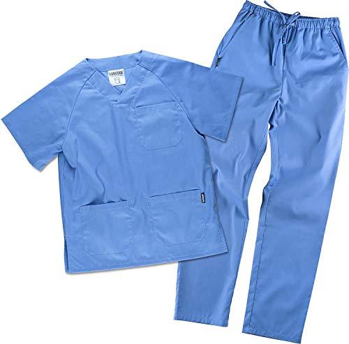 Work Team Uniforme Sanitario, con elástico y cordón en la Cintura, Casaca y Pantalon Unisex Celeste L
